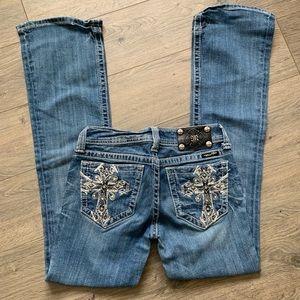 Miss me jeans cross pockets bling sz 26 boot cut